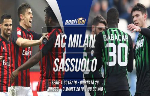 Prediksi Pertandingan AC Milan vs Sassuolo Minggu 03 Maret 2019