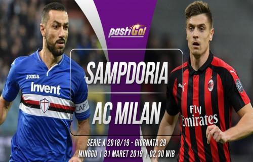 Prediksi Pertandingan Sampdoria vs AC Milan Minggu, 31 Maret 2019