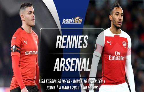 Prediksi Pertandingan Rennes vs Arsenal Jumat, 08 Maret 2019